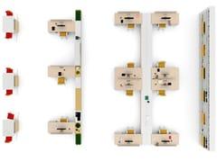 Postazione di lavoro in nobilitato con scaffale integrato con sistema passacaviGLIDER | Postazione di lavoro con scaffale integrato - BRALCO