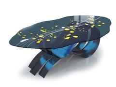 Tavolo ovale in acciaio inox e vetroGOCCE D'ORO NEL FIUME - TECNOTELAI