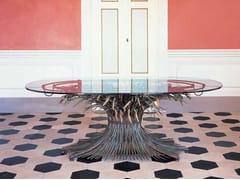 Tavolo ovale in ferro e cristalloGRANO | Tavolo - OFFICINACIANI DI CATERINA CIANI & CO.