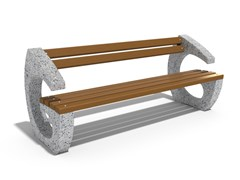 Panchina in calcestruzzo e legno con schienaleGRAVITY - ENCHO ENCHEV - ETE