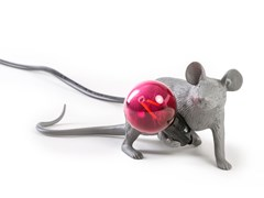 Lampada da tavolo a LED in resinaGREY MOUSE LAMP LIE DOWN - SELETTI