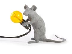 Lampada da tavolo a LED in resina GREY MOUSE LAMP SITTING - Mouse Lamp