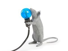 Lampada da tavolo a LED in resina GREY MOUSE LAMP STANDING - Mouse Lamp