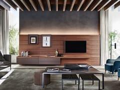 Parete attrezzata componibile in legno con illuminazione integrataGRID - MOLTENI & C.