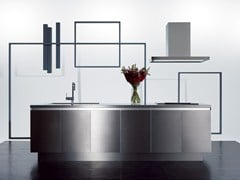Cucina in acciaio inox senza maniglie GRAD45 | Cucina -