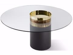 Tavolo rotondo in cristallo con base in legnoHAUMEA-T - GALLOTTI&RADICE