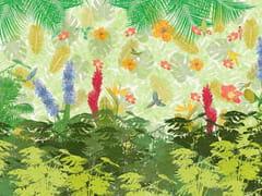Carta da parati tropicale PVC free, eco, lavabileHAWAIIAN PLEASURES - WALLPEPPER