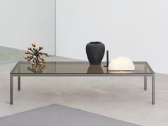 Tavolino basso rettangolare in acciaio e cristallo HELSINKI 30 | Tavolino in acciaio e cristallo - Helsinki