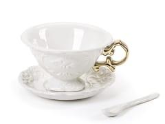 Tazza da tè in porcellana con piattinoI-WARES | Tazza da tè - SELETTI