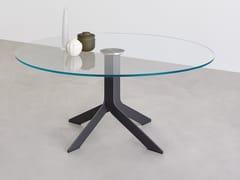 Tavolo rotondo in acciaio e cristallo IBLEA | Tavolo in acciaio e cristallo -