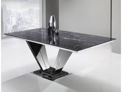Tavolo con base in acciaio e top in Crystal Stone®INFINITY | Tavolo in acciaio - BALLARINI