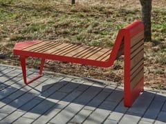 Panchina modulare in acciaio e legno senza schienaleINFINITY WOOD | Panchina - PUNTO DESIGN