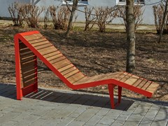 Seduta da esterni in acciaio e legnoINFINITY WOOD | Seduta da esterni - PUNTO DESIGN