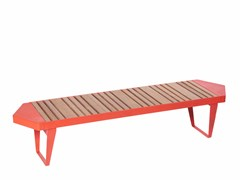 Panchina modulare in acciaio e legno senza schienaleINFINITY WOOD   Panchina modulare - PUNTO DESIGN