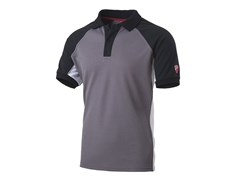 Polo con fianchetto 55% CO-45%PL (180 g/mq)INN-BARCELONA LIGHT GREY/BLACK - INNEX