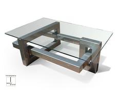 Tavolino rettangolare in acciaio inox e vetro IOS | Tavolino rettangolare - Ios
