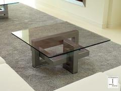 Tavolino da caffè quadrato in acciaio inox e vetro IOS | Tavolino quadrato - Ios