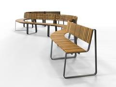 Panca in acciaio e legno con schienale IOU | Panca con schienale - IOU