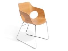 Sedia a slitta in legno con braccioli IOWA | Sedia in legno -