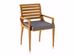 Sedia da giardino in teak con braccioli IRIS | Sedia con braccioli - Iris