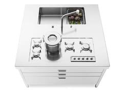 Elemento cucina a isola con piano cottura, vasca e cassettiISOLA CUCINA 130 FUNZIONALITÀ - ALPES-INOX