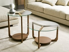 Tavolino basso in legno e vetro ISOLA | Tavolino -