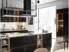 Cucina professionale in acciaio con isola con maniglieJET BLACK AND BLACK POLISHED NICKEL - OFFICINE GULLO