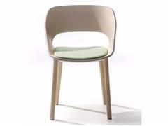 Sedia in frassino con cuscino integrato KABIRA WOOD 4WL | Sedia con cuscino integrato - Kabira