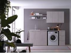 Ideagroup, KANDY 01 Mobile lavanderia in nobilitato con lavatoio per lavatrice