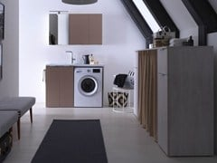 Ideagroup, KANDY 09 Mobile lavanderia in nobilitato con lavatoio per lavatrice