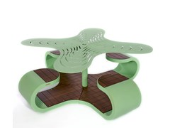 Tavolo da picnic in acciaio con sedie integrateKLOVER - PUNTO DESIGN