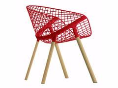 Sedia in acciaio e legno con braccioliKOBI WOOD - 041 - ALIAS