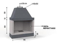 Caminetto a legna aperto in ceramica refrattariaKR 100 SUPER | Caminetto - EDILMARK