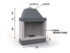 Caminetto a legna aperto in ceramica refrattariaKR 1080 | Caminetto - EDILMARK
