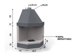 Caminetto a legna aperto in ceramica refrattariaKR 130 | Caminetto - EDILMARK
