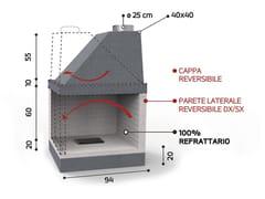 Caminetto a legna angolare in ceramica refrattariaKR 950 | Caminetto - EDILMARK