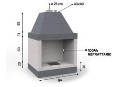 Caminetto a legna aperto in ceramica refrattariaKR790 | Caminetto - EDILMARK