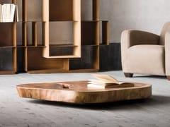 Tavolino con piano in Suar massello e base in metallo KROSS -