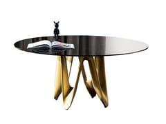 Tavolo rotondo in vetro LAMBDA ROUND - Lambda