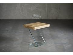 Tavolino alto rettangolare in legno e vetroLEAF 1 - ALTA CORTE