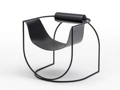 Poltrona con struttura in acciaio e seduta in cuoioLEMNI - LIVING DIVANI