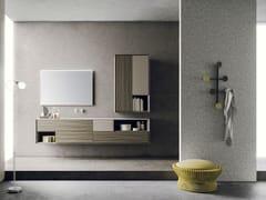 Mobile lavabo sospeso in frassino con specchioLIBERA +   COMPOSIZIONE 04 - NOVELLO