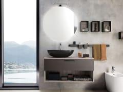Mobile lavabo sospeso con cassetti con specchioLIGHT 05 - ARCHEDA