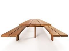 CASSECROUTE, LIGNO TABLO Tavolo da picnic in iroko con panchine integrate