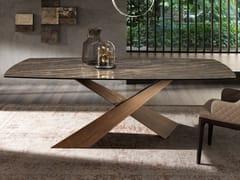 Tavolo rettangolare in ceramica e ottone spazzolato LIVING | Tavolo in ceramica - Living