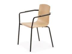 Sedia da conferenza impilabile in faggio con braccioliLOTO | Sedia con braccioli - MARA