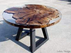 Tavolo da salotto rotondoLUNA| Tavolo in resina e legno - ANTICO TRENTINO DI LUCIO SEPPI