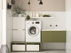 Lacquered laundry room cabinet