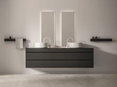 Mobile lavabo doppio sospeso in poliuretano con cassettiMAKING | Mobile lavabo doppio - FIORA