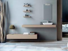 Mobile lavabo sospeso in MDF con cassetti e con specchio MAKING LISCIO P/30 - Making